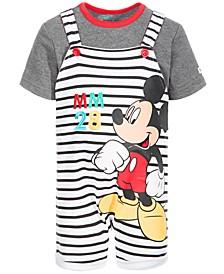Baby Boys 2-Pc. Striped Mickey Mouse Shortall & T-Shirt Set