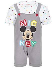 Baby Boys 2-Pc. Mickey-Print Shortall & Printed T-Shirt Set