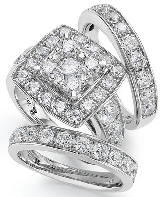 14k white gold diamond bridal ring set 4 ct t w rings
