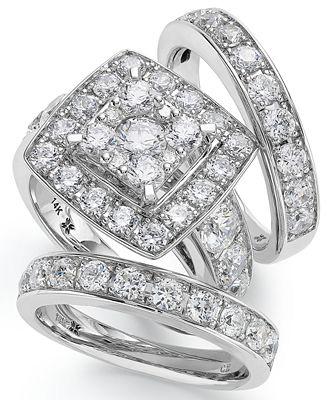 Macy S 14k White Gold Diamond Bridal Ring Set 4 Ct T W Rings