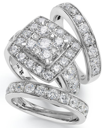 14k White Gold Diamond Bridal Ring Set (4 ct. t.w.)
