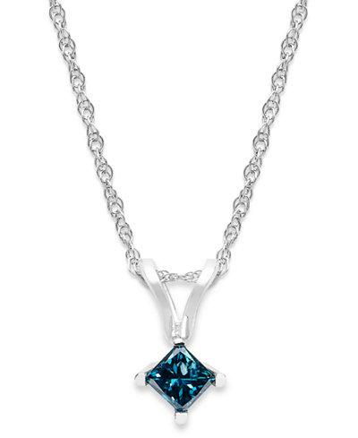 10k White Gold Blue Diamond Pendant Necklace (1/6 ct. t.w.)