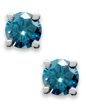 10K White Gold Blue Diamond Round Stud Earrings (1/5 ct. t.w.)