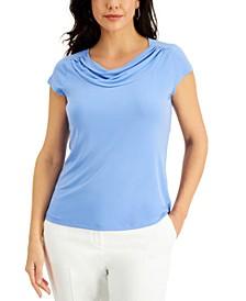 Cowl-Neck Short-Sleeve Top
