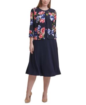 Jessica Howard PLUS SIZE 2-PC. FLORAL-PRINT JACKET & A-LINE DRESS