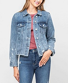 Women's Acid Wash Distressed Classic Crop Denim Jacket