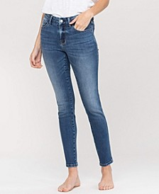 Women's Mid Rise Waistband Detail Ankle Skinny Jeans
