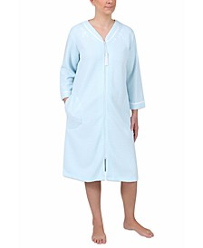 Dot-Print Short Zipper Robe