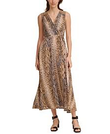 Snake-Embossed Maxi Dress