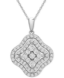 "Diamond Wavy Cluster 18"" Pendant Necklace (1 ct. t.w.) in 14k Gold or 14k White Gold"