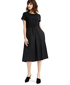 Mixed-Media Bungee-Waist Fit & Flare Dress, Created for Macy's