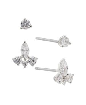 Cubic Zirconia Silver Tone Stud Earrings Set