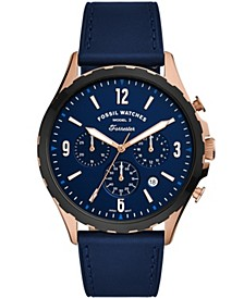 Men's Forrester Navy Leather Strap Watch 46mm