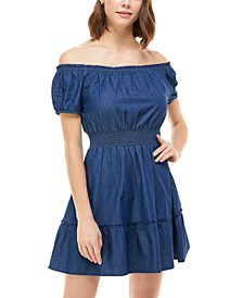 Juniors' Cotton Off-The-Shoulder Fit & Flare Dress