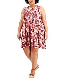 Plus Size Floral-Print Flip-Flop Dress, Created for Macy's