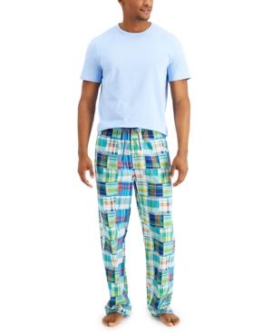 Men's 2-Pc. Solid Sleep T-Shirt & Madras Plaid Pajama Pants Set