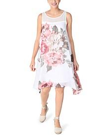 Petite Sleeveless Floral-Chiffon Trapeze Dress