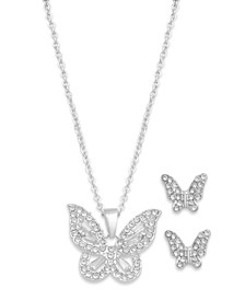 Fine Silver Plated Cubic Zirconia Pave Butterfly Necklace and Earrings Set