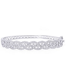 Diamond Accent Braided Twist Bangle in Fine Silver Plate