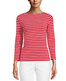 Printed Boat-Neck Top