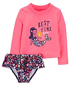 Toddler Girls Mermaid Rashguard Set, 2 Piece
