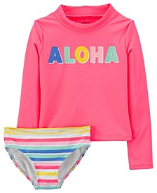 Little Girls Aloha Rashguard Set, 2 Piece