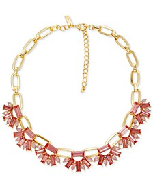 "INC Gold-Tone Teardrop & Baguette Stone Statement Necklace, 17"" + 3"" extender, Created for Macy's"