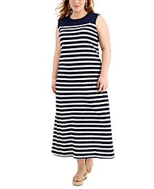 Plus Size Cotton Striped Dress, Created for Macy's