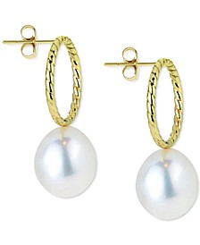 Cultured Freshwater Pearl (8mm) Circle Drop Earrings in 14k Gold
