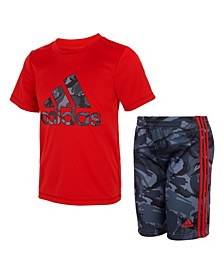 Toddler Boys Action Camouflage T-shirt and Shorts Set, 2 Piece