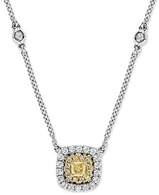 "EFFY® Yellow & White Diamond Halo 18"" Pendant Necklace (5/8 ct. t.w.) in 18k Gold & 18k White Gold"