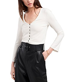 Button-Front Ribbed-Knit Top