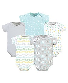 Baby Girls and Boys Cotton Bodysuits, 5 Pack