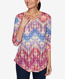 Plus Size Knit Ikat Zigzag Top