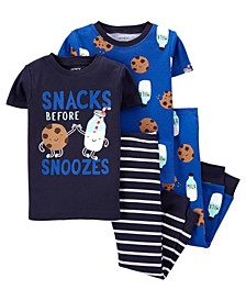 Baby Boys Milk and Cookies Pajama Set, 4 Pieces