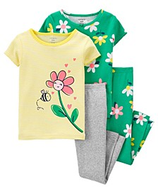 Baby Girls Floral Pajama Set, 4 Pieces