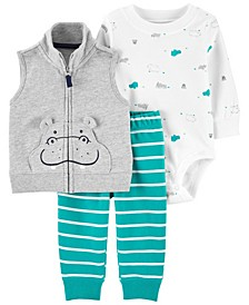 Baby Boys Hippo Little Vest Set, 3 Pieces