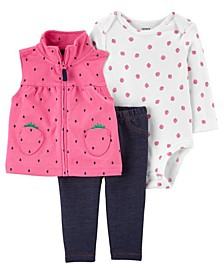 Baby Girls Strawberry Little Vest Set, 3 Pieces