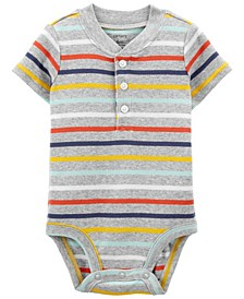 Baby Boy Striped Henley-Style Bodysuit