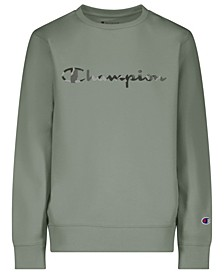 Big Boys Camo Fill Script French Terry Crew Sweatshirt