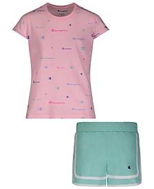 Baby Girls 2-Pc. Multicolor T-Shirt & Varsity Woven Shorts Set