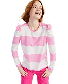 Petite Striped Puff-Sleeve Top, Created for Macy's