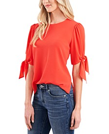 Bow-Detail Puff-Sleeve Blouse
