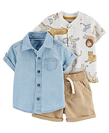 Baby Boys Tiger Little Short Set, 3 Pieces