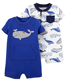 Baby Boys Whales Snap-Up Rompers, Pack of 2