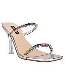 Women's Fanfav Square Toe Jeweled Dress Sandals