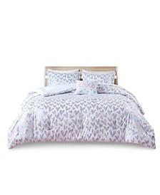 Kristie Full/Queen Iridescent Metallic Heart Printed Comforter, Set of 4