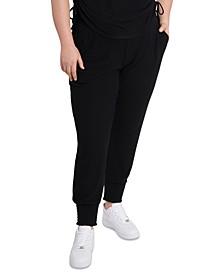 Trendy Plus Size Smocked-Trim Jogger Pants