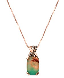 "Crème Brûlée® Aquaprase Candy & Diamond (1/8 ct. t.w.) 18"" Pendant Necklace in 14k Rose Gold"