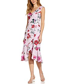 Floral-Print Flounce Midi Dress